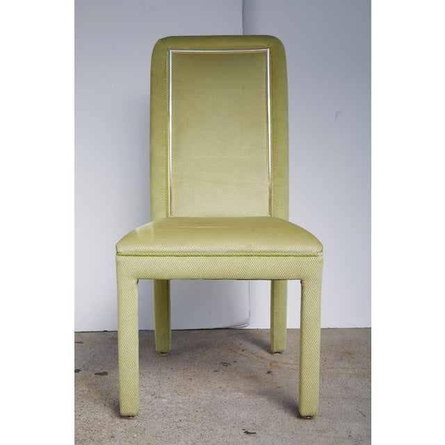 Velvet & Brass Detail Dining Chairs - Set of 8 - Image 2 of 9