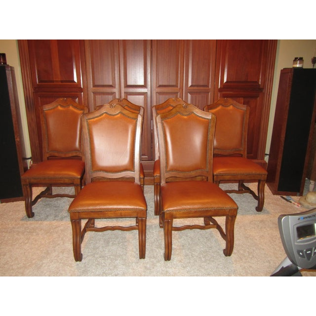 Stanley Leather Dining Chairs - Set of 6 - Image 3 of 11