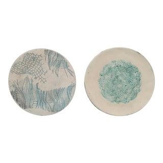 Mid-Century Studio Pottery Handmade Pressed Signed Plates - Set of 2