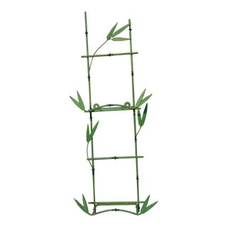 Mid-Century Green Faux Bamboo Shelf