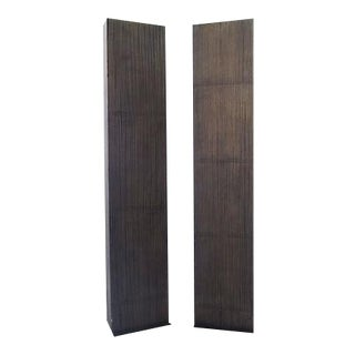Faux-Wood Column Floor Lamps - A Pair