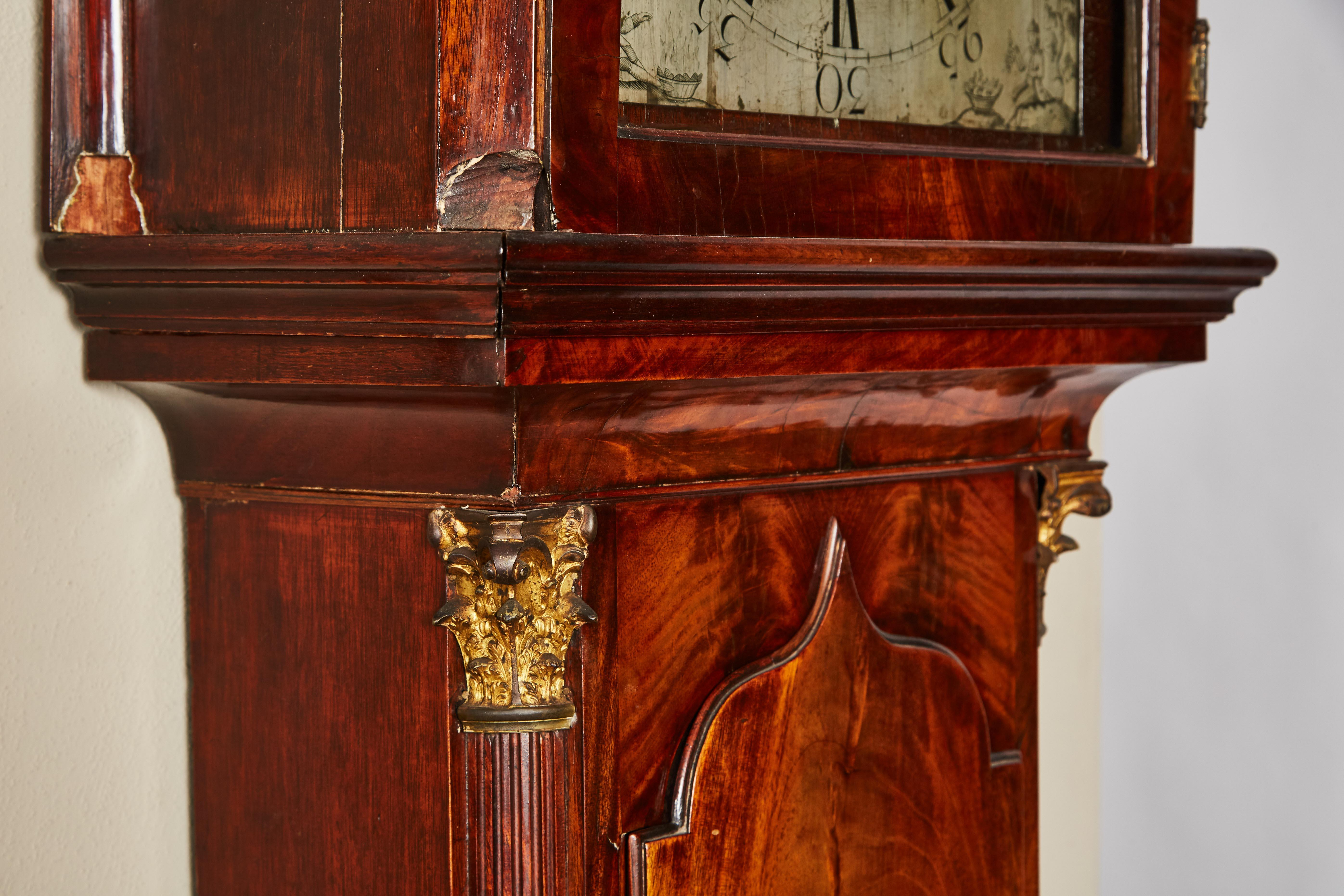 18th Century Mahogany English Flat Top Grandfather Clock By John Skinnier  With A Silver On Brass