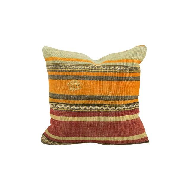 Aged Vintage Kilim Pillow - Image 1 of 3