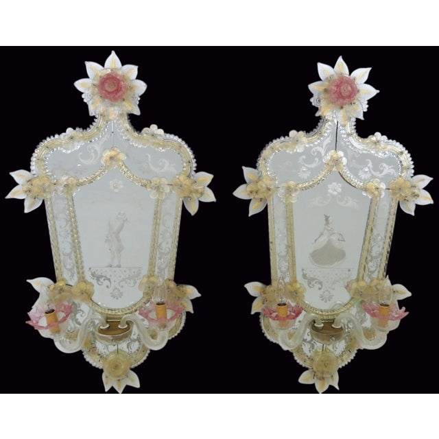 Antique Venetian Glass Mirrored Sconces - A Pair - Image 2 of 7