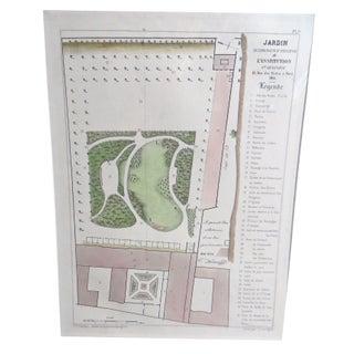 1871 French Garden Plan Engraving