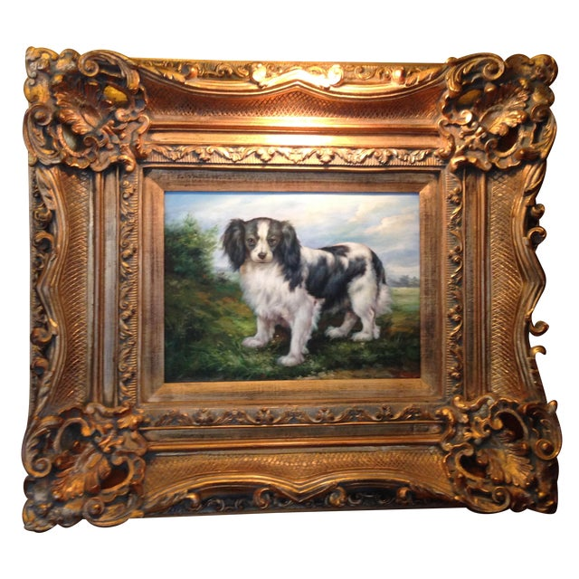 Oil Portrait King Charles Spaniel With Gold Frame - Image 1 of 5
