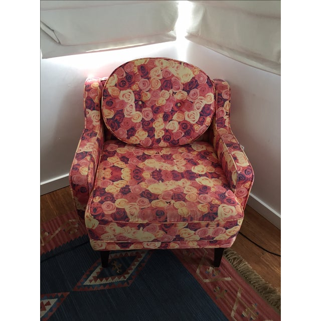 Rose Print Upholstered Chair - Image 2 of 5