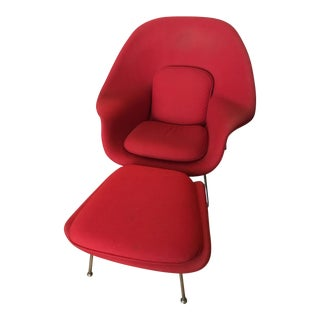 Mid-Century Modern Red Womb Chair & Ottoman