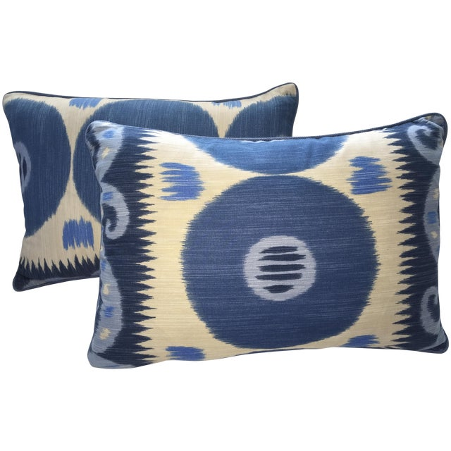 Emil Blue Ikat Pillows - A Pair - Image 1 of 4