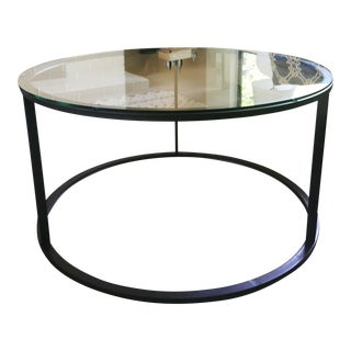 Modern Industrial Metal & Glass Coffee Table