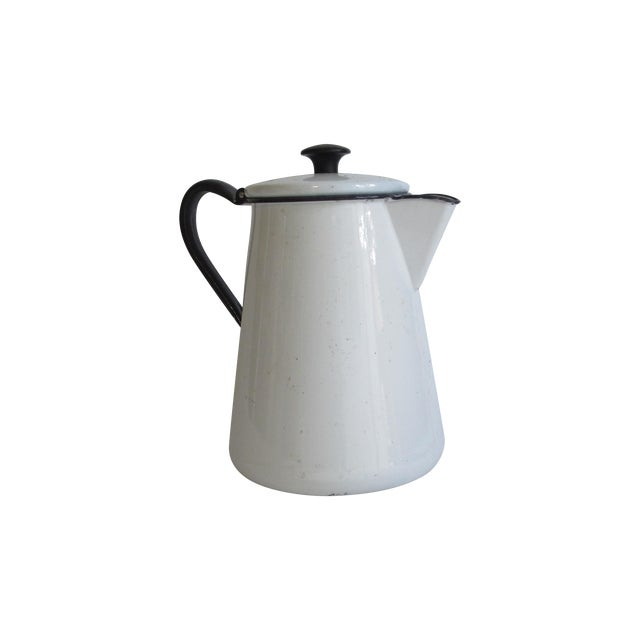 French White & Blue Enamel Coffee Pot - Image 1 of 6
