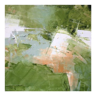 Green & White Abstract Landscape