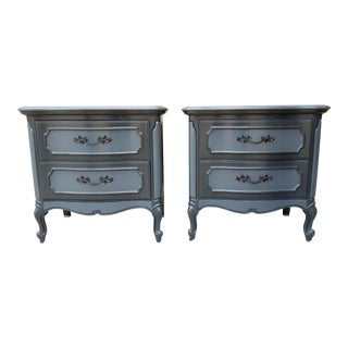 Thomasville French Provincial Carbon Gray Nightstands -a Pair