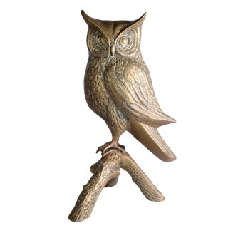 Life-size Solid Bronze Owl on a branch