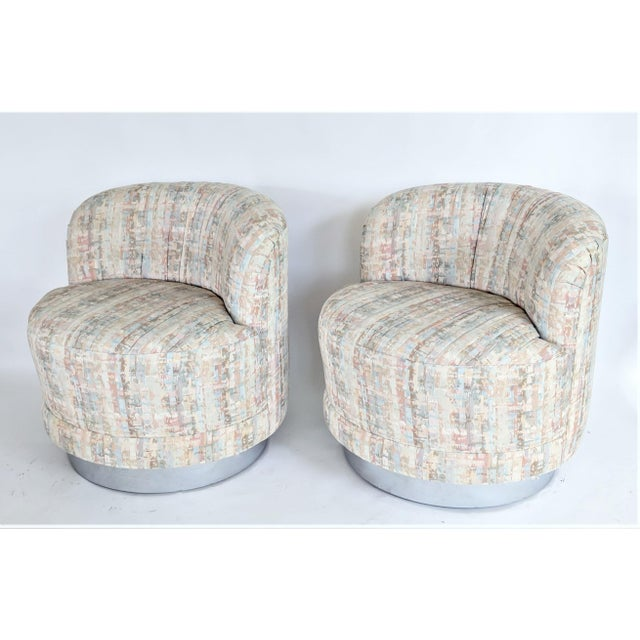 Milo Baughman Style Swivel Lounge Chairs - a Pair - Image 2 of 10