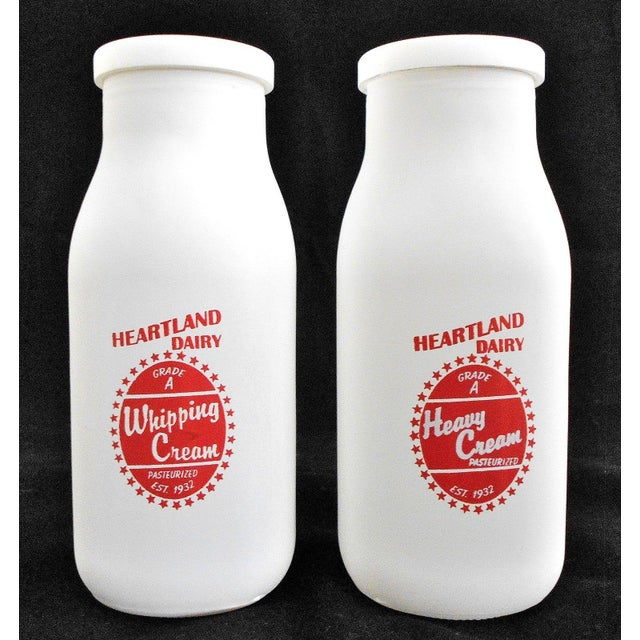 Retro White Glass Cream Bottles and Metal Carrier - Image 6 of 10