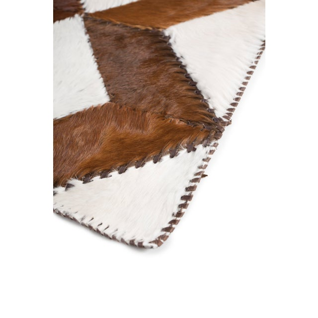 "Square Chevron Cowhide Patchwork Area Rug - 5'5"" x 7'11"" - Image 6 of 8"