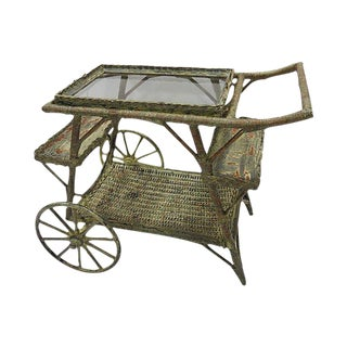 Wicker Rolling Tea Cart