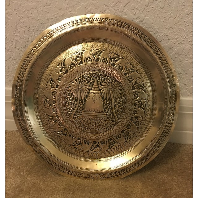 Hammered Brass Elephant Detailed Tray - Image 2 of 6