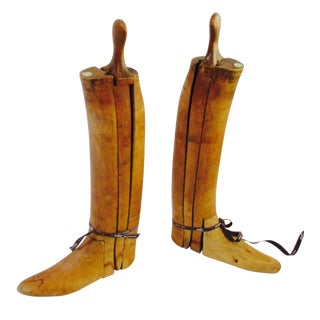 Antique English Wood Boot Forms With Hermes Ribbon