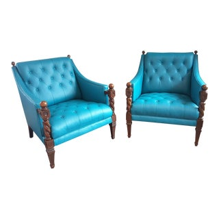 Wood & Teal Diamond Tufted Club Chairs – a Pair