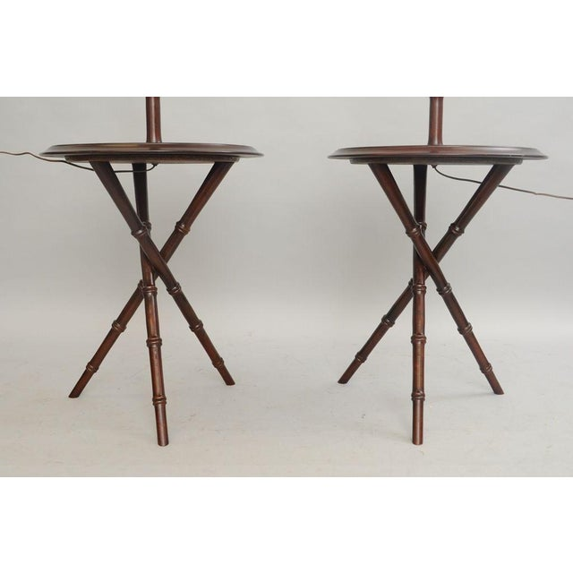 Chinese Chippendale Faux Bamboo Lamp Tables - A Pair - Image 6 of 11