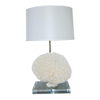 Coral Table Lamp on Lucite Block