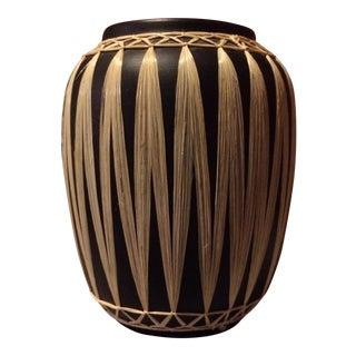Mid-Century Raffia Wrapped Black Pottery Vase