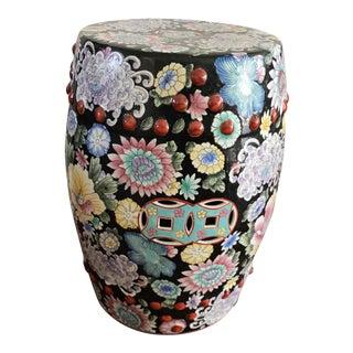 Vintage Vibrant Porcelain Enameled Garden Stool