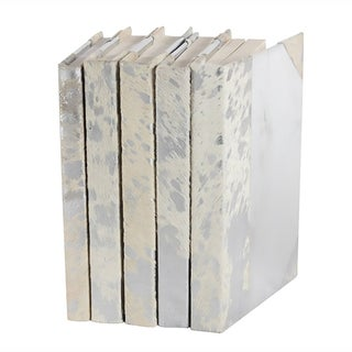 White Silver Metallic Hide Books -  Set of 5