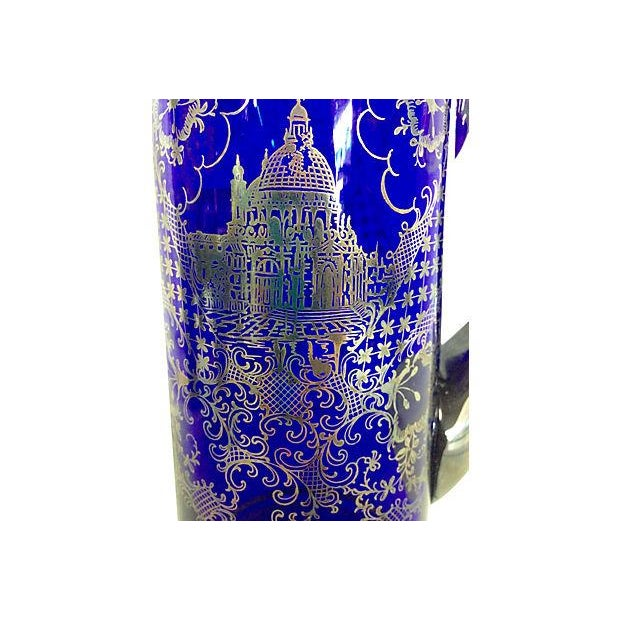 Image of Vintage Venetian Silver on Blue Pitcher & Glasses