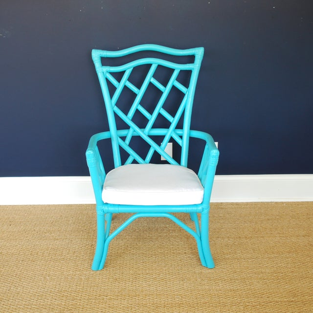 Vintage Rattan Turquoise Chair - Image 3 of 3