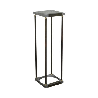 Mid Century Modern Mixed Metal Inset Glass Top Plant Stand