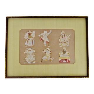 Early framed Asian paper cut artwork -set of 6 figures