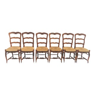 Country French Rush Seat Dining Chairs - Set of 6