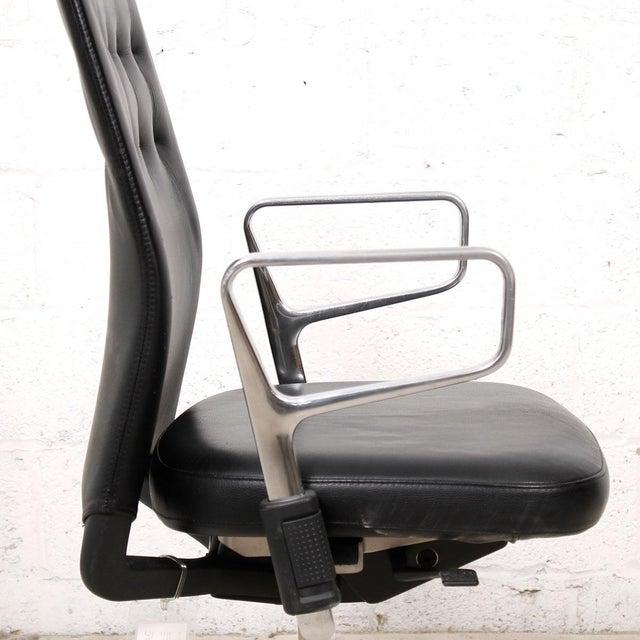 Vitra Italian Black Leather Swivel Desk Chair - Image 4 of 9