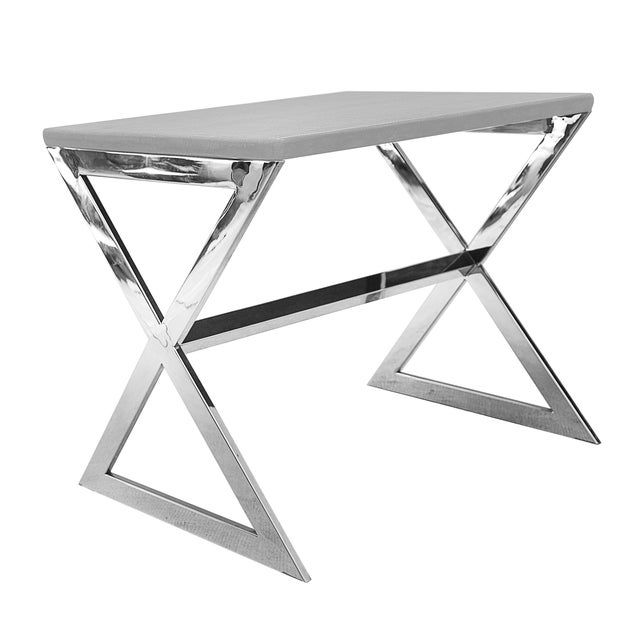 Image of Silver Grayson Side Table with Concrete Top