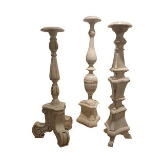 Shabby Chic Wooden Altar Candle Holders - Set of 3