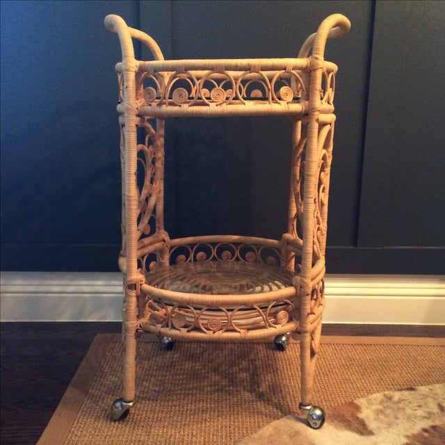 Vintage Bamboo & Rattan Bar Cart - Image 4 of 7