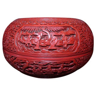 Chinese Cinnabar Lacquer Cake Box