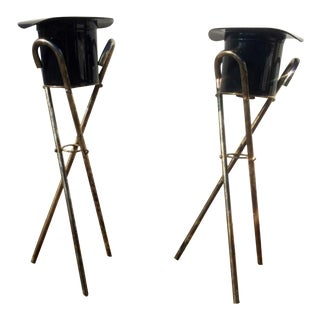 Top Hat Ice Buckets With Metal Cane Stands - A Pair