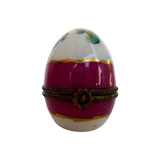Hand Painted Limoges Egg With Perfume Bottle