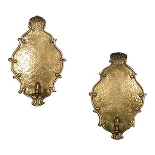 Pair Antique French Brass Régence Style Wall Sconces circa 1850