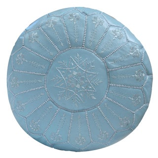 Embroidered Baby Blue Leather Pouf