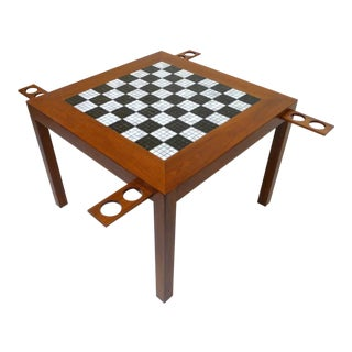 Mid-Century Mosaic Tile Inset Game Table