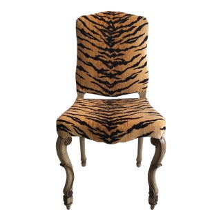 Tiger Print Upholstered Vintage Chair