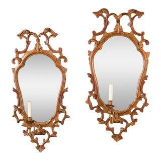 Pair Antique Italian Baroque Painted Mirror Sconces circa 1840
