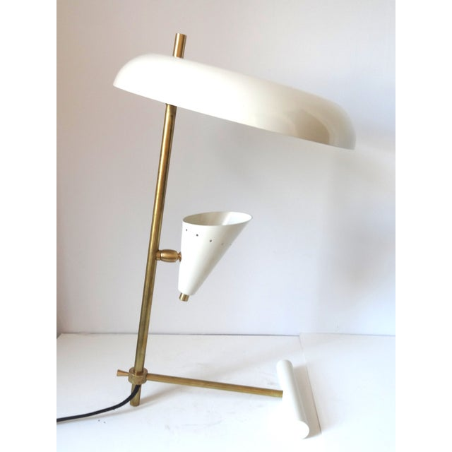 Image of Italian Brass & White Lacquered Lamps - A Pair
