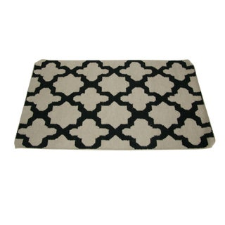 Black and White Graphic Wool Rug