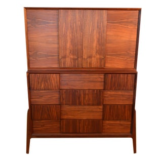 Danish Walnut Two Piece Dresser in Brutalist Style